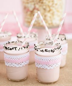 girly pink drinks in dressed up mason jars perfect for pink cowgirl party