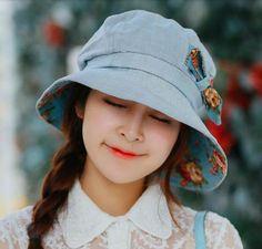 Leisure bow bucket hat for women spring lining flower sun hats