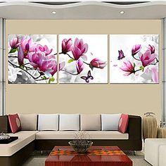 impresiones del cartel púrpura rosa flor azul del arte cuadros decorativos del hogar imprimir sobre lienzo 3pcs / set (sin marco) 3875012 2016 – €30.37