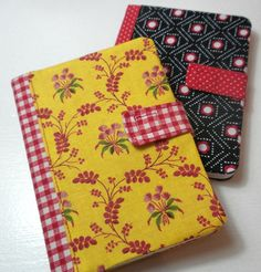 Journal covers by Annette, Sunshine Yellow.  Inspired by tutorial here:  http://obsessivelystitching.blogspot.com/2011/02/love-week-covered-notebooks.html