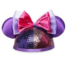 Minnie Mouse Sequined Ear Hat for Adults | Disney Store Add a flash of fun and fashion to your Mouseketeer ears with Minnie's sparkling souvenir hat decorated in metallic sequins, satin trims, and fancy fabric bows for your next big fling at the Disney Parks.