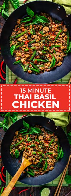 15 Minute Thai Basil Chicken - Host The Toast - 15 Minute Thai Basil Chicken. When it comes to Thai recipes, this stir fry is one of the most popular and easiest to make. It's flavorful, fast, and is going to become one of your favorite quick dinners. Stir Fry Recipes, Cooking Recipes, Healthy Recipes, Thai Food Recipes Easy, Recipes Dinner, Drink Recipes, Cooking Ham, Cooking Steak, Meal Recipes