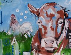 "Acrylbild, Malerei auf Leinwand ""1 A Kalb mit Hahn"" Kunst  #Kuh #Kalb #expressionismus #leinwand"