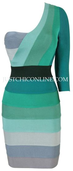 """The """"Danni"""" Teal Ascent One Shoulder Affordable Bandage Dress.  Made with high quality luxury bandage fabric. $162.00"""