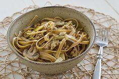 Wild Mushroom Fettucini with Smoked Apple Sage Field Roast 'Sausage' #vegan