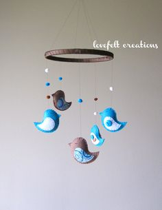 Baby Crib Mobile - Custom Baby Mobile - Baby Mobile Birds - Bird Mobile - Baby Boy Mobile - Pick your colors :). $80.00, via Etsy.