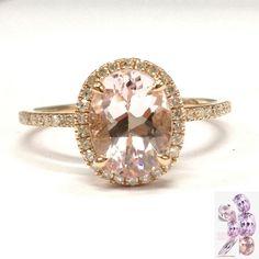$519 Oval Halo Diamonds 7x9mm Morganite Solid 14K Rose Gold Wedding Anniversary Ring #LOGR