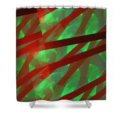 """Green and red shower curtains. These shower curtains are made from 100% polyester fabric and include 12 holes at the top of curtain for simple hanging from your own rings. Shower curtains are 71"""" wide by 74"""" tall....."""