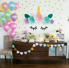 ideas for birthday party unicorn decorations Unicorn Themed Birthday, Baby Birthday, Birthday Bash, Birthday Ideas, Party Decoration, Birthday Decorations, Unicorn Decorations Party, Fete Emma, Unicorn Baby Shower