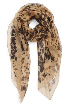 Burberry Animal Print Silk Georgette Scarf available at #Nordstrom