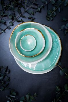 Porcelain Bowl, Watercolour, Gold Lustre, Turquoise Ceramics, Green Bowls, Irish Pottery, Dipping Bowl, Ring Dish
