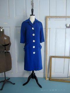 1950s Cobalt Blue Wool Coat $64.00