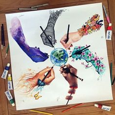 We paint the world in colors bright, We strive, create believe and fight, Lift our voices through our hands For peace and freedom in all lands.  As artists we can all unite, Spread a little warming light,  Grab our pencil, brush and paints To create a world without restraints.  Finally we are able to share this huge collaboration! It took months to make since we shipped it all around Europe all artist involved in this drawing: @dinotomic @jojoesart @elia_pelle @vexx_art and @pavneetsembhi…