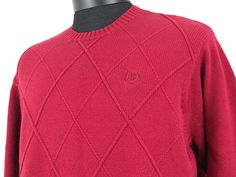 zod Sweater Red Mens Size Medium Solid with Argyle 100% Cotton  #Clothing #Shopping #eBay http://r.ebay.com/LyhFot via @eBay