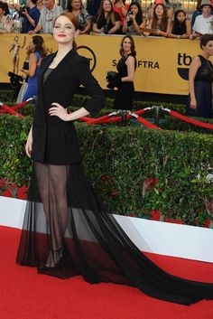 Emma Stone on the SAG Awards Red Carpet. [Photo by Amy Graves]