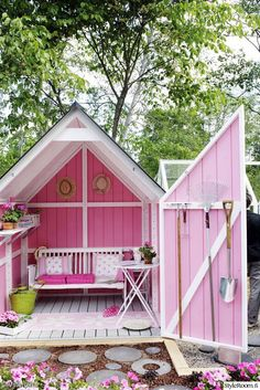 My kind of garden shed! Only painted yellow inside! My kind of garden shed! Only painted yellow in Backyard Retreat, Backyard Sheds, Garden Sheds, She Sheds, Potting Sheds, Pink Garden, Pink Houses, Garden Structures, Shed Plans