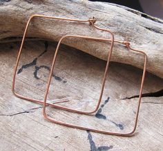 Copper Square Hoop Earrings  2 inch Beading Hoops by NadinArtGlass, $8.00