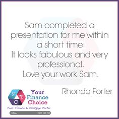We love hearing from our clients. If you need a loan, please give Rhonda a call. #VirtualAssistant