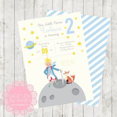 The Little Prince Invitation for The Little Prince birthday Le