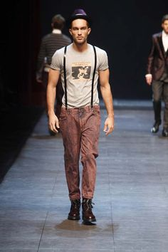 Thin braces suspenders on skinny jeans