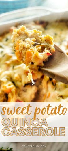 If you like recipes with ingredients that will leave you feeling great, you are going to love this Sweet Potato Quinoa Casserole. This fuss-free recipe works just as well as a side dish as it does a vegetarian main course. It is the perfect combination of comfort food and healthy. Best Quinoa Recipes, Gluten Free Recipes For Breakfast, Healthy Gluten Free Recipes, Gluten Free Dinner, Vegetarian Recipes, Dinner Recipes, Gluton Free Meals, Quinoa Sweet Potato, Vegetarian Main Course