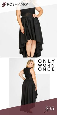 Black Special Occassion High-Low Dress Ok, you will definitely slay when you rock this plus size special occasion dress featuring a very sexy sheer mesh top and dressed up taffeta maxi skirt. Crew neck. Unlined bodice. Polyester. Hand wash cold. Only worn once. Ashley Stewart Dresses High Low