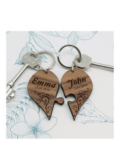 Personalised Couples Romantic Joining Heart Keyring in Multi Gifts For Him, Gifts For Women, Photo Keyrings, Unique Gifts, Great Gifts, Heart Keyring, Personalized Gifts For Her, Wooden Hearts, Love Symbols