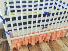 Coral ruffles + navy stripes + fun polka dots = preppy, adorable crib bedding from @tushiestantrums. Can't get enough!