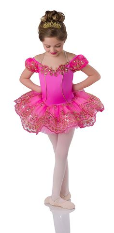 Leotard with attached tutu: flo-cerise spandex, gold and pink embroidery on pink sequin mesh, and candy pink tricot. Trim: gold and pink embroidered sequin appliqués, gold piping, and adjustable straps. Jazz Costumes, Ballet Costumes, Pink Sequin, Blush Pink, Baby Ballerina, Sequin Appliques, Dance Tights, Ballet Tutu, Tiny Dancer
