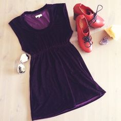 Silence + Noise Purple Velvet Minidress Size small ❤️ Fitted bust ❤️ Never worn ❤️ No rips stains or odors.  Trades. silence + noise Dresses Mini