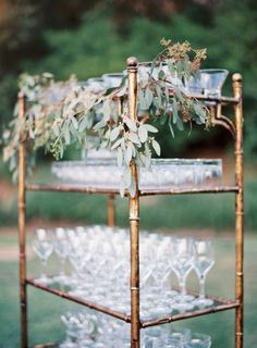 Rustic greenery topped bar cart: http://www.stylemepretty.com/2016/02/22/rose-gold-blush-wedding-at-the-ojai-valley-inn/ | Photography: Jen Huang - http://jenhuangphoto.com/