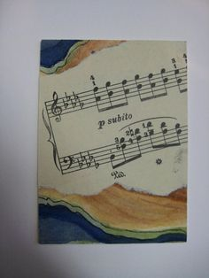 ACEO Original watercolor and upcycled music by watercolorsNmore, $4.50