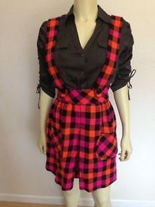 Handmade Skirt w Suspenders Plaid Bright Colors Costume XS   eBay