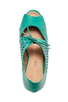 Chelsea Crew - Jazz Mid Heel Shoe - Teal at DNA Footwear