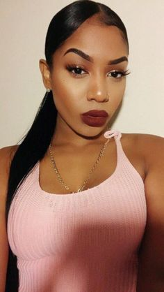 make-up black girls on fleek eyebrows eye makeup red lipstick black woman red wine