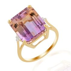 Anahi Ametrine & Diamond 10K Yellow Gold Ring ATGW 9.83cts $274