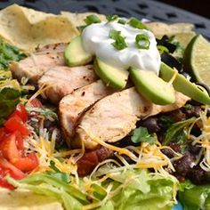 "Grilled Chicken Taco Salad | ""This was great and we put it all in baked flour tortilla bowls."""
