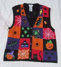 White Stag Womens Black Ugly Halloween Sweater Cardigan Vest Ladies Size XL  #WhiteStag #UglyHalloweenSweater