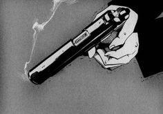 gun, black and white, and manga image