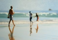 With rich strokes of oil paint,Philip Barlow renders beachside snapshots in mesmerizing blurs of bokeh, as if shot through unfocused camera lenses. His style eschews inconsequential compositional details in favor of accentuated ambience, smudging the scenes into soft smears of color while honing crisp, shimmering circles from each spot where sun rays reach earth. He conveys not so much the shore as the muted memory of it—the pure essence of its sensations, from the haze of humidity to the…