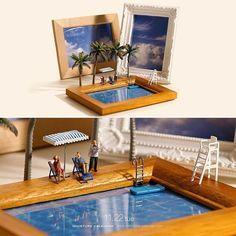 "Miniature world . 11.22 tue ""Poolside"" . 夫婦水入らず。プール水要らず。 . #いい夫婦の日 #写真立て #プール #PictureFrames #Pool —————— #鹿児島で個展開催中 #詳しくはプロフィールのurlから #銀座でも展覧会開催中"