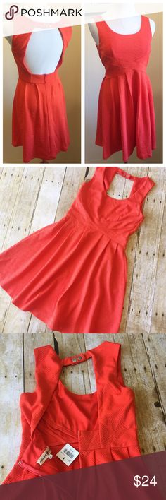 """NWT Alter'd State Texture Knit Mini Dress Small New condition. Zip back, open back design. Knit fabric with textured pattern. Has some stretch. Polyester/spandex. 15"""" armpit to armpit. 12.6"""" across at waist. 32"""" long from top of shoulder. Red/orange color. alter'd state Dresses Mini"""