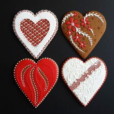 Stunningly decorated Valentine's Day cookies from Wendy Kromer Confections.