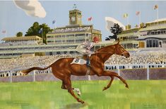 #Kenneth #Rowntree #Ballymoss winning the George V Stakes  From a #painting by Kenneth Rowntree and #John #Skeaping #art #modernart #Britishart #lithograph #horse #racing #races #Britishart #llfa