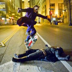"Heath Ledger skateboarding while filming ""The Dark Knight"" ...Amazing!!"