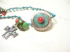 Turquoise bracelet cross charm sterling silver copper chain trade beads beaded jewery december birthday on Etsy, $68.00