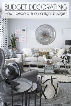 How to decorate on a very tight budget - Budget home decor shopping tips that anyone can try (ivory leather sofa, pouf, black and white accents, Beni Ourain, leopard accents) - Cuckoo4Design