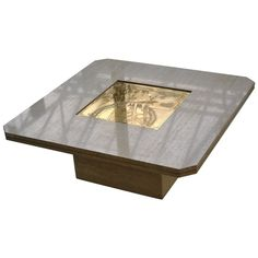 Persan Marble and Acid Etched Brass Coffee Table by Georges Mathias, 1970s | 1stdibs.com
