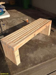 exterior, Simple Idea Of Long Diy Patio Bench Concept Made Of Wooden Material In Natural Color With Strong Seat Also Legs For Garden Furniture - Antique DIY Patio Bench Gaining Unique Exterior Design(Diy Bench) Woodworking Projects That Sell, Diy Wood Projects, Furniture Projects, Diy Woodworking, Bedroom Furniture, Popular Woodworking, Outdoor Furniture, Woodworking Workshop, Furniture Plans