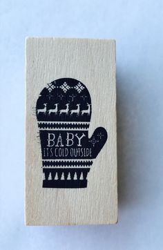 New- for Scrapbooking Rubber Stamping and Handmade Cards Wood Mounted Rubber Stamp-- Mitten by YourScrapbookingShop on Etsy